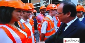 Hollande a Doha rencontre des expatriés 02