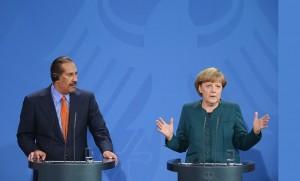Angela Merkel et Hamad Ben Jassem Al-Thani