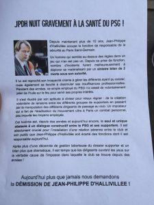 Ultras demande la dem du responsable sécurité du PSG